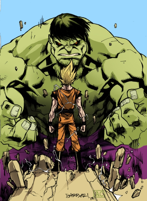Goku vs Hulk by Carlo Barberi