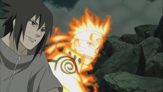 Naruto and Sasuke both smile