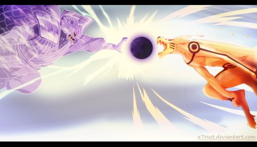Naruto 695 Naruto Kurama Sasuke Susanoo Clash by X7Rust