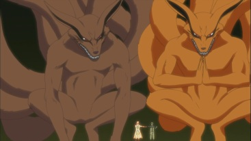 Naruto and Minato with two Kurama's