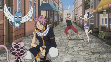 Natsu and others meet Frosch