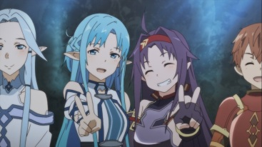 Asuna and Yuuki take a picture