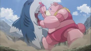 Bear handles Pisces Shark