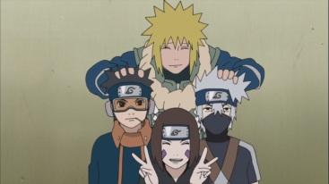Group Photo of Kakashi Minato Rin and Obito