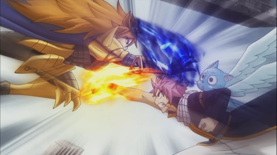 Loke attacks Happy with Natsu