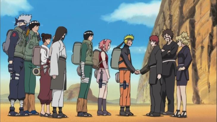 Naruto shakes Gaara's Hand