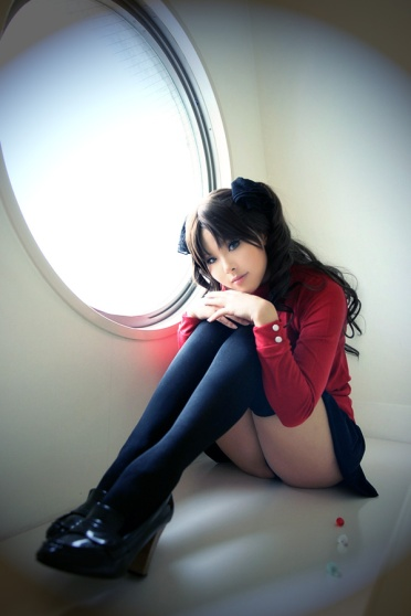 Rin Tohsaka Sitting Cosplay by 0kasane0