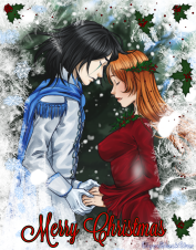 Ulquiorra and Orihime Christmas by elyonblackstar