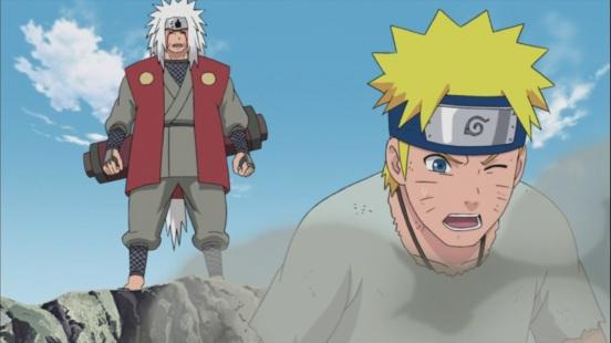 Jiraiya trains Naruto