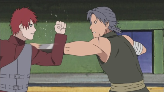 Shiro and Gaara practice fight
