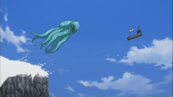 Squid Monster chases after Lucy