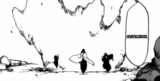 Byakuya activates Senbonzakura