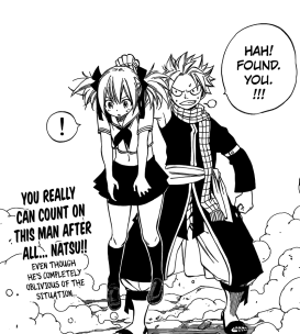 Natsu lifts Chelia from Bluenote Stinger's Gravity