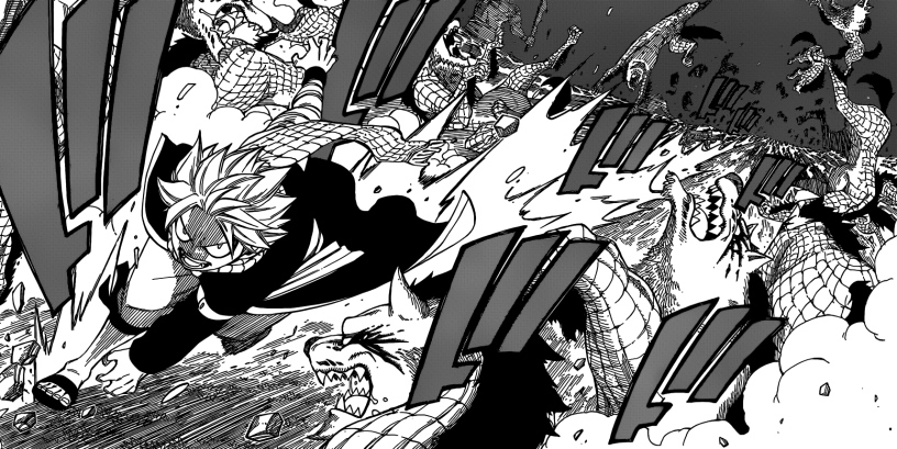 Natsu rushes through monsters