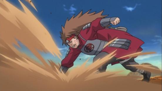 Choji smashes the ground