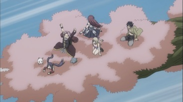 Natsu and others travel using Warrod's ability