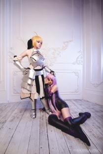 Cosplay Rider and Saber by kawaielli
