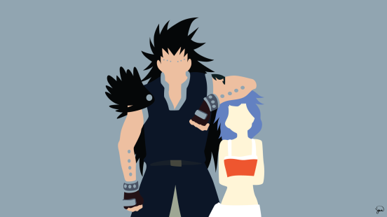 Gajeel and Levy Fairy Tail Minimalistic Wallpaper by greenmapple17