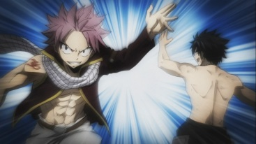 Natsu and Gray tag each other in