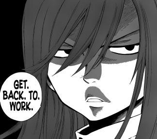 Erza scares everyone into working