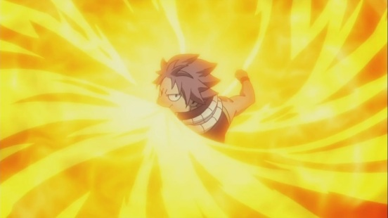 Natsu engulfs Fire
