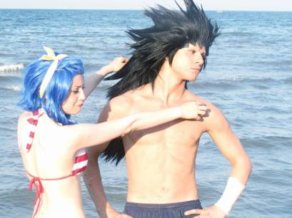 Cosplay Levy and Gajeel by FrenkieRedfoxValla