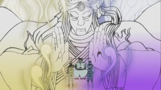 Naruto and Sasuke recieve power from Hagoromo