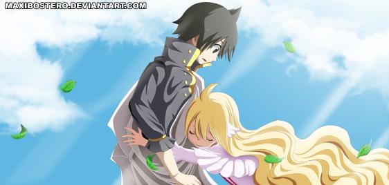 Fairy Tail 449 Mavis hugs Zeref by maxibostero