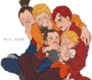 Shikamaru Naruto Gaara Boruto and Shikadai