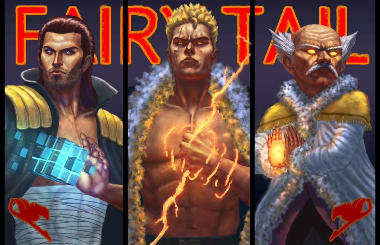 Fairy Tail Powerhouses Makarov Laxus Gildarts by schufocus