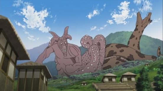 Gyuki punches Orochimaru's snake