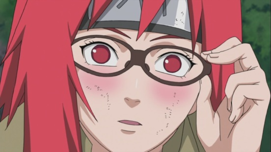Karin looks at Sasuke for the first time