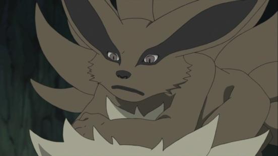 Kurama on Naruto's head