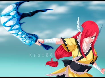Fairy Tail 458 Erza Wind Armor by Kisi86