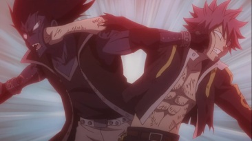 Gajeel and Natsu punch each other