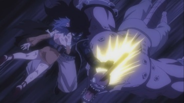Gajeel saves Levy