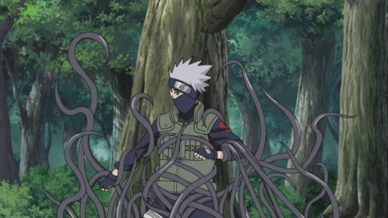 Kakashi captured by strange vines