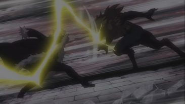 Laxus punches Tempester
