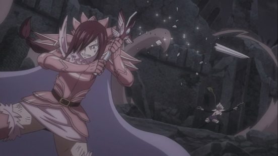 Erza's sword cracks