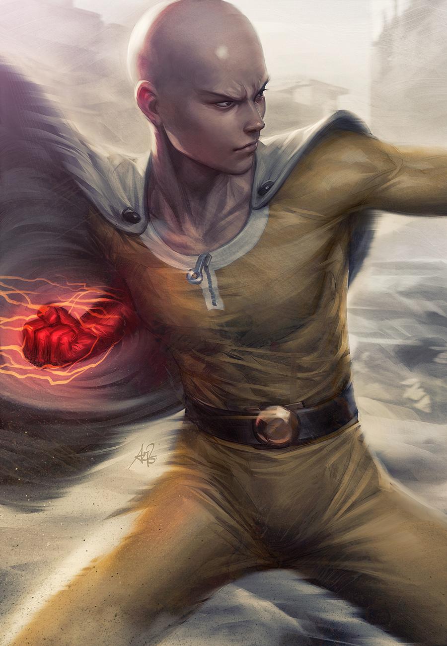 Super Normal Punch Saitama by Artgerm