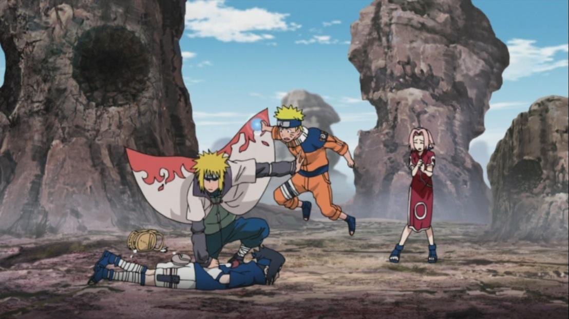 Minato stops Naruto and Sasuke