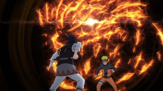 Sasuke notices Naruto's Kurama power
