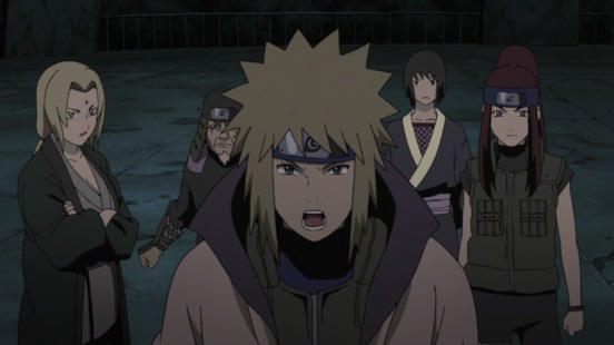 Minato gets ready to stop Pain's attack
