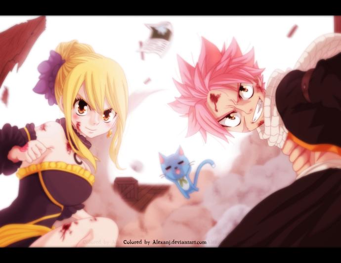 Fairy Tail 478 Natsu Lucy Happy by aleaxnj