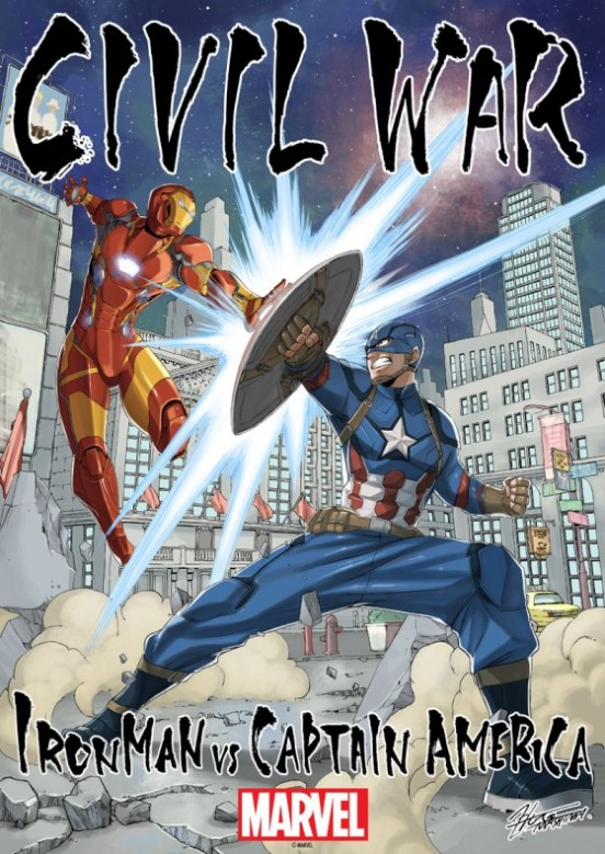 Hiro Mashima draws Ironman vs Captain America