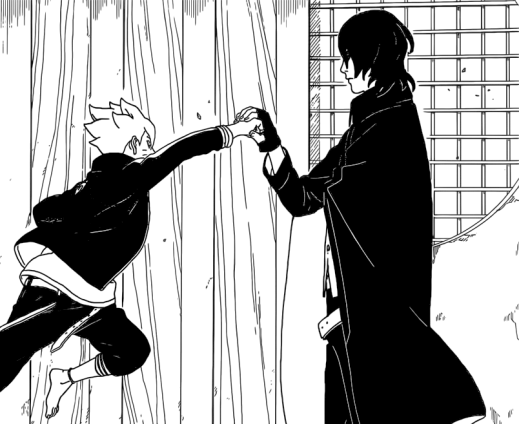 Boruto throws a punch at Sasuke