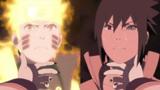 Kaguya holds Naruto and Sasuke