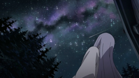Kaguya looks up at the sky