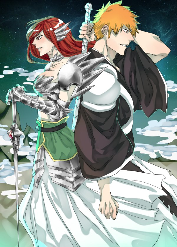 Ichigo and Erza Bleach and Fairy Tail by guardianinthedark