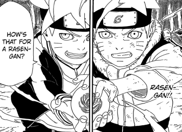Naruto and Boruto with Rasengan